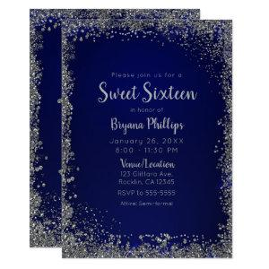 Royal Blue & Silver Glitter Glam Sweet 16 Party Invitation starting at 2.61