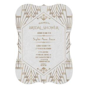 Royal Gold White Great Gatsby 1920s Bridal Shower Invitation starting at 2.80
