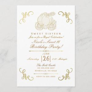 Royal Golden Gold Pumpkin Carriage Sweet 16 Party Invitation starting at 2.87