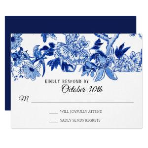 RSVP Asian Influence Navy Blue Floral Chinoiserie Invitation starting at 1.95