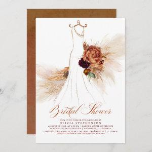 Rust Terracotta Floral Pampas Grass Bridal Shower starting at 2.51