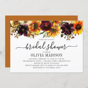 Rustic Autumn Fall Sunflower Floral Bridal Shower starting at 2.40