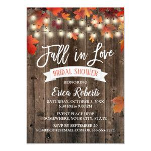 Rustic Autumn Leaves Fall in Love Bridal Shower Invitation starting at 2.15