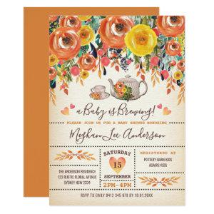 Rustic Baby Shower Tea Party Autumn Fall Flowers Invitation starting at 2.56