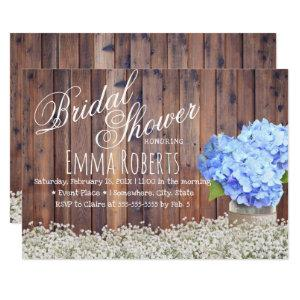 Rustic Baby's Breath Blue Hydrangea Bridal Shower Invitation starting at 2.45