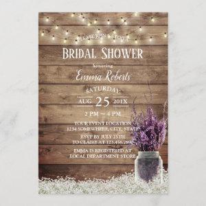 Rustic Baby's Breath Lavender Floral Bridal Shower Invitation starting at 2.40