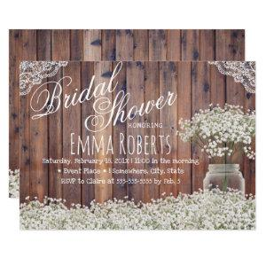Rustic Baby's Breath Mason Jar Laced Bridal Shower Invitation starting at 2.40