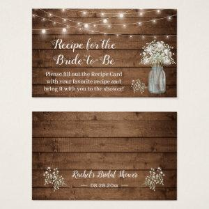 Rustic Baby's Breath Recipe for Bride-to-Be Card starting at 23.95