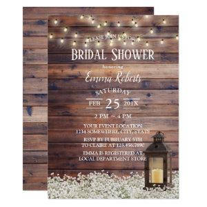 Rustic Barn Lantern String Lights Bridal Shower Invitation starting at 2.15