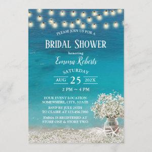 Rustic Beach Baby's Breath Flowers Bridal Shower Invitation starting at 2.40