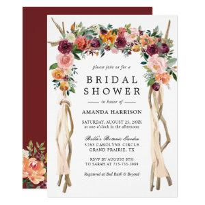 Rustic Bloom Burgundy Blush Floral Bridal Shower Invitation starting at 2.05