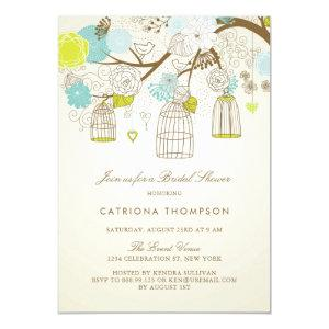 Rustic Blue and Yellow Birdcages Bridal Shower Invitation starting at 2.40