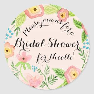 Rustic Blush Granny Chic Hipster Floral Bridal Classic Round Sticker starting at 6.95