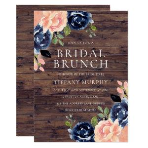 Rustic Blush Navy Blue Floral Bridal Shower Brunch Invitation starting at 2.40