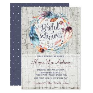 Rustic Boho Chic Bridal Shower Bohemian Feathers Invitation starting at 2.66