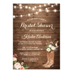 Rustic Boots Cowgirl Western Bridal Shower Invitation starting at 2.10
