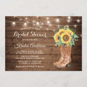 Rustic Boots String Lights Sunflower Bridal Shower starting at 2.30