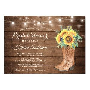 Rustic Boots String Lights Sunflower Bridal Shower Invitation starting at 2.30