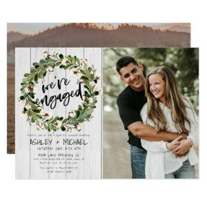Rustic Botanical Wreath Script 2 Photo Engagement Invitation starting at 2.40