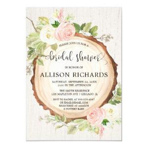 Rustic bridal shower blush pink forest woods invitation starting at 2.55