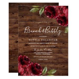 Rustic Bridal Shower Burgundy Floral Brunch Bubbly Invitation starting at 2.50