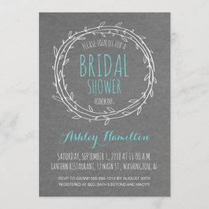 Rustic Bridal Shower invite in Gray and Turquoise starting at 2.66