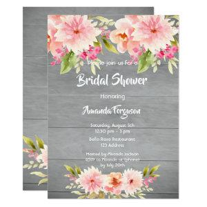 Rustic bridal Shower peach dahlia flowers brown Invitation starting at 2.51