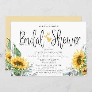 Rustic Bridal Shower Sunflower with Yellow Hearts Invitation starting at 2.50