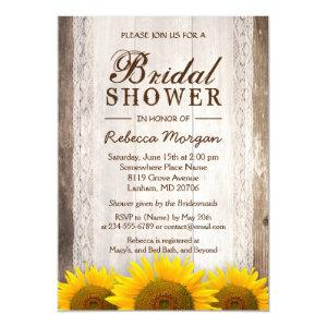 Rustic Bridal Shower Sunflowers Lace Barn Wood Invitation starting at 2.30