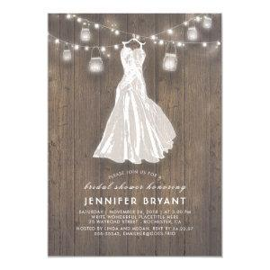 Rustic Bridal Shower | Wedding Gown and Mason Jars Invitation starting at 2.30