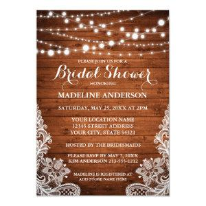Rustic Bridal Shower Wood String Lights Lace Invitation starting at 2.51
