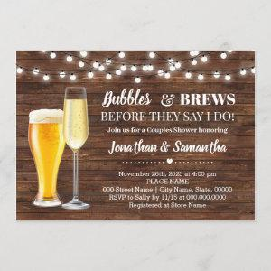 Rustic Bubbles & brews before I do couples shower Invitation starting at 2.55