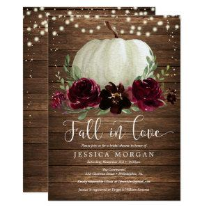 Rustic Burgundy Fall in Love Bridal Shower Invite starting at 2.10