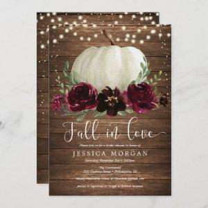 Rustic Burgundy Fall in Love Bridal Shower Invite starting at 2.40