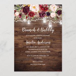 Rustic Burgundy Floral Lights Brunch And Bubbly starting at 2.50