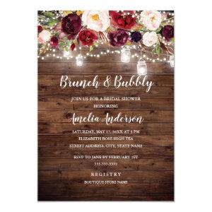 Rustic Burgundy Floral Lights Brunch And Bubbly Invitation starting at 2.50
