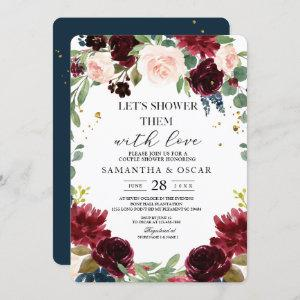 Rustic Burgundy Navy Blue & Red Flowers Frame Invitation starting at 2.60