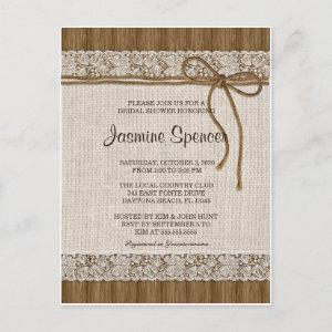 Rustic Burlap And Lace Bridal Shower Invitation starting at 1.80