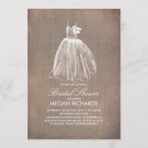 Rustic Burlap and Wedding Gown Bridal Shower Invitation starting at 2.40