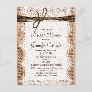 Rustic Burlap Bridal Shower Invitation Postcard starting at 1.80