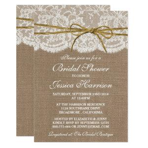 Rustic Burlap, Lace & Twine Bow Bridal Shower Invitation starting at 2.51