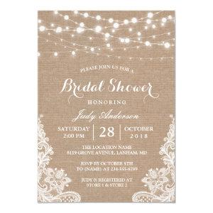 Rustic Burlap String Lights Lace Bridal Shower Invitation starting at 2.30