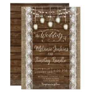 Rustic Burlap Wood Lace Wedding Invitations starting at 2.51