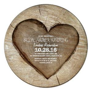 Rustic carved tree wood heart bridal shower invitation starting at 2.76