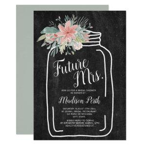 Rustic chalk floral mason jar script bridal shower invitation starting at 2.40