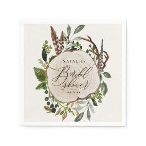 Rustic chalk + wood slice bridal shower party napkins starting at 39.00