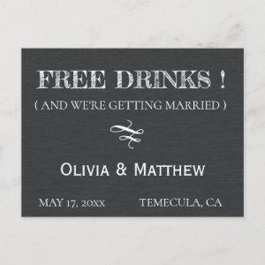 Rustic Chalkboard Deco FREE DRINKS Save the Date Announcement Postcard starting at 1.81
