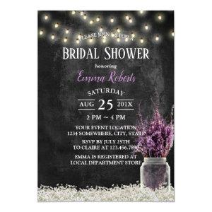 Rustic Chalkboard Lavender Floral Bridal Shower Invitation starting at 2.40