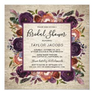 Rustic Chateau Butterum & Plum Flora Bridal Shower Invitation starting at 2.30