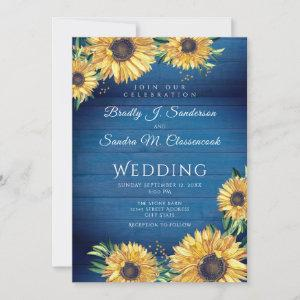 Rustic Chic Sunflower Navy Blue Wood Wedding starting at 2.51